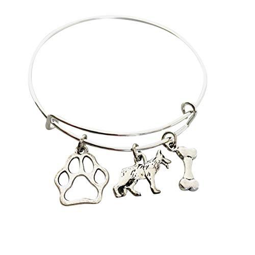 German Shepherd Jewelry for Women, Dog Mom gifts Bracelet paw print bone