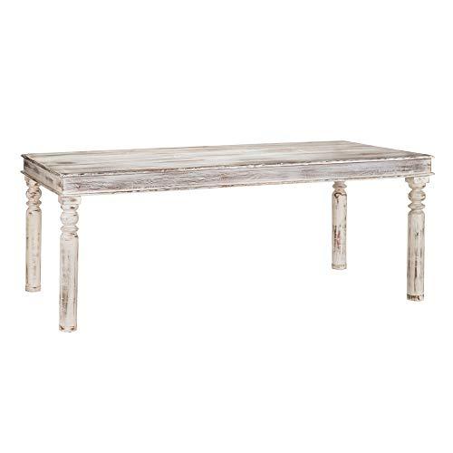 Mesa de Comedor Rectangular de Madera de Mango rústica Blanca de 200x100x76 cm - LOLAhome