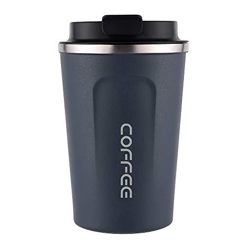 Carrefour - Tazas de café con aislamiento al vacío de doble estructura de acero inoxidable con tapa, fácil de transportar y lavar azul