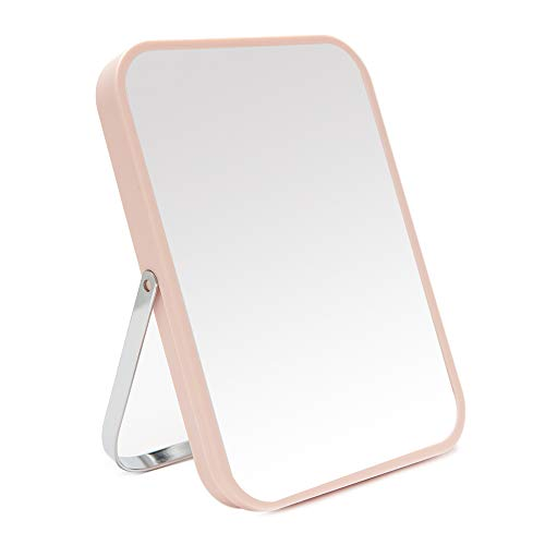YEAKE Table Desk Vanity Makeup Mirror,8-Inch Portable Folding Mirror with Metal Stand 90°Adjustable Rotation Tavel Make Up Mirror Hanging Bathroom for Shower Shaving(Pink)