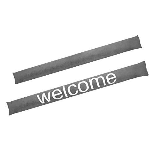 Valia Home Zugluftstopper Durchzugstopper Windstopper für Türen und Fenster mit Sand beschwert grau Welcome 90 cm lang