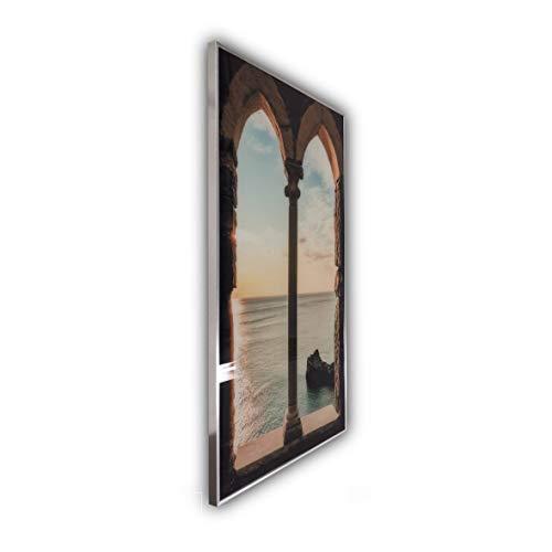 Steinfeld XXL Glasbild mit Rahmen/Glas Deko Bild (Silber/alu) (60 x 80 cm, 016 Fenster)