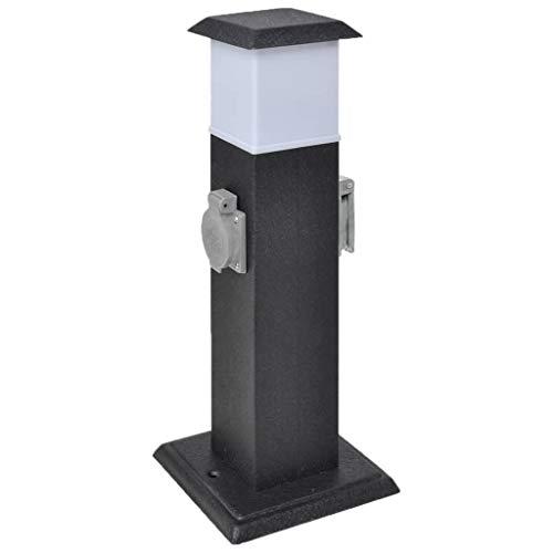 vidaXL Presa Elettrica da Giardino a Pilastro Nero con Luce Spina da Esterno