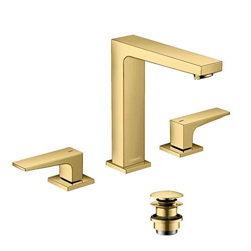 hansgrohe 32515990 Metropol 160 - Rubinetto per lavabo con leva e scarico push-open in oro lucido, 3 fori