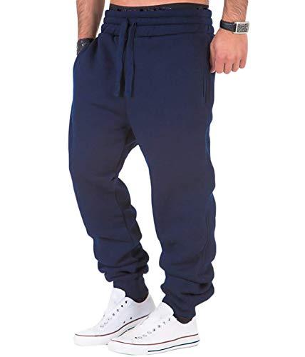 Frecoccialo Pantalon de jogging pour homme, en coton, sport, fitness, coupe ajustée, pour homme, avec cordon de serrage - Bleu - XL