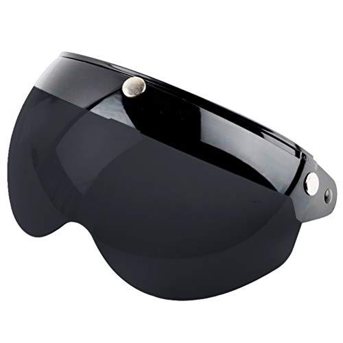 Wopohy Helmvisier Universelles 3 Druckknopf Winddichtes Sonnenschutz Halbgesicht-Retro Motorradhelm Visier für Motorrad-Helm