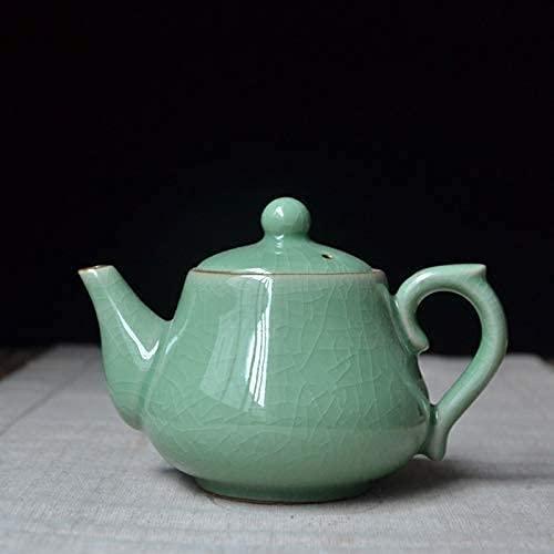FGDSA Ceramic Teapot Porcelain Teapot Ceramic Household Teapot Longquan Celadon Ge Kiln Ice Crack Single Pot Tea Set 350Ml