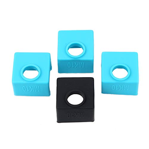 FYSETC 3D Printer MK10 Silicone Socks, MK10 Heater Block Silicone Cover Hotend Protection for Wanhao i3 Mini Creator, 4 Pcs, Blue+Black