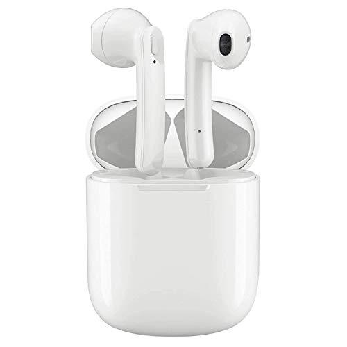 Auricolari wireless Bluetooth 5.0 Cuffie, pop up Auto Pairing 24 ore di riproduzione con custodia di ricarica rapida, IPX5 resistente all'acqua, Adatto a tutti i dispositivi Bluetooth (bianca)
