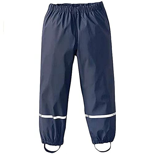 Pantaloni Impermeabili Bambino, Treer Unisex Pantaloni da Pioggia Trekking Traspirante Antivento Pantaloni di Fango per Ragazzi e Ragazze Rain Pants (86-92cm,Marina Militare)