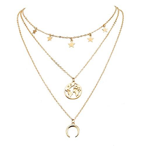 SMEJS Collar con colgante de mapa del mundo de múltiples capas de oro, gargantilla de estrella, collar con colgante de luna creciente, collar con dijes en capas, joyería para mujeres y niñas