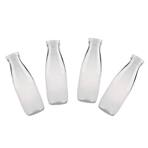 Angoily 4 Unidades de Botellas de Leche de Vidrio con Tapas de Plástico para Cristalería Y Bebida para Fiestas Bodas Barbacoa Picnics Bebidas Jugo Cerveza
