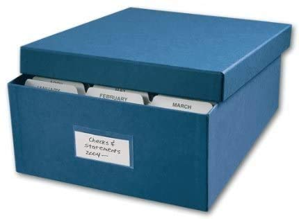 Checks Storage Box, Includes 12 dividers and clear outside label, Great for business or personal-size checks! Size: 12' x 9 3/4' Blue