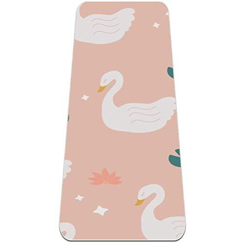 Eslifey White Swan Lily Lotus Pattern - Esterilla de yoga gruesa antideslizante para mujeres y niñas Esterillas de ejercicio suaves para pilates (182,8 x 60,9 cm, 1/4 pulgadas de grosor)