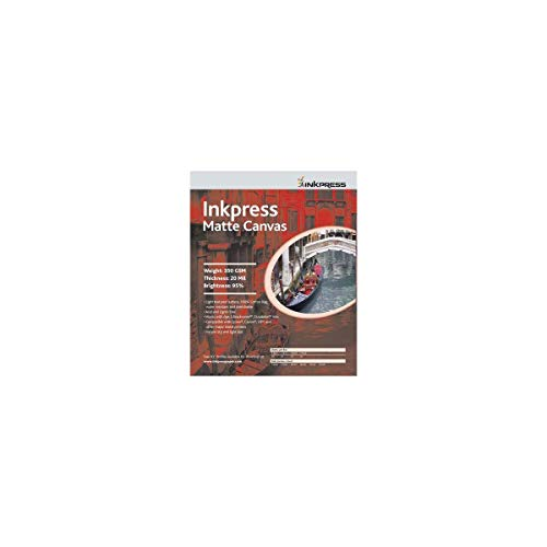 """Inkpress Matte Canvas, Waterproof, Stretchable, Bright White Matte Inkjet Cloth, 20 mil, 350 GSM, 13x19"""", 10 Sheets"""