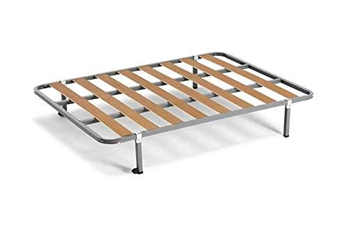 Bettgestell / Lattenrost mit Vierkantbeinen und Rollen, Rohr 30x 30cm, in Spanien hergestellt 90x190cm-PATAS 26CM