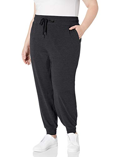 Amazon Essentials Plus Size Brushed Tech Stretch Jogger Pant Athletic-Sweatpants, Negro (Black Space Dye), 4X