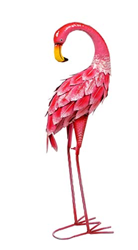 Lifestyle & More Moderne Gartenskulptur Gartenfigur Flamingo aus Metall rosa stehend Höhe 74 cm
