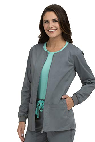 Med Couture Women's In-Seam Zip Front Solid Warm Up Scrub Jacket, Steel, Large