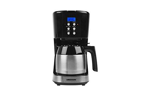MEDION MD 18088 Kaffeemaschine mit Thermokanne (900 Watt, 1 Liter Fassungsvermögen, 8 Tassen, Timer-Funktion, Tropf-Stopp) schwarz