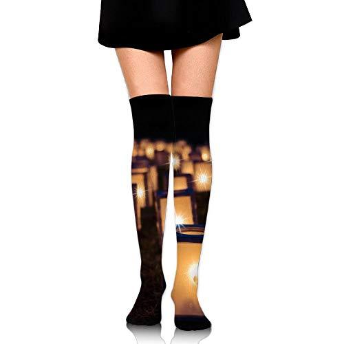 DAWN&ROSE donkere nacht lantaarn kaars verlichting afdrukken Casual knie hoge sokken mode Athletic kousen