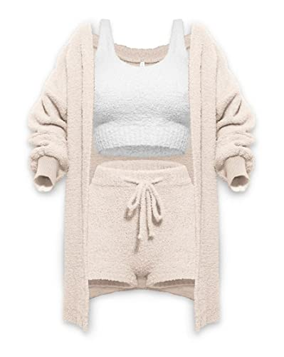 HWSJ Comfortable Knitted Suit (3-Piece Set) Double-Sided Fleece, Very Soft, Long Sleeves, Tank Tops, Shorts, Pajamas Set (Ivory,XL)