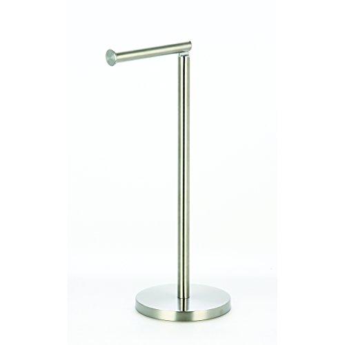 MSV Toilettenpapierhalter Stehend BxHxT: 15x43x15cm freistehender Papierrollenhalter in Edelstahl-Optik Edler Rollenhalter für WC-Rollen als Ersatzrollenhalter verchromt, Silber