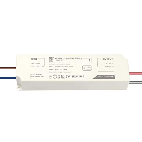 LIGHTEU®, Transformator LED Netzteil Treiber - 100 W, 12 V DC, 8 A IP65 - Konstantspannung für LED-Lichtbänder Strip und G4, MR11, MR16 LED Glühlampen
