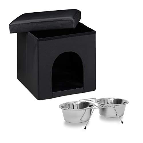 Relaxdays Set 2 pz Home Sweet L Cuccia per Cani Sgabello con nicchia Nero Pouf cubo, Ciotola rialzata Doppia con Supporto Scodella