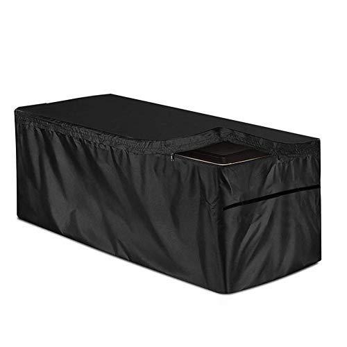 AlexHoumie Auflagenbox/Kissenbox Cover Mit Reißverschluss 210D Silberbeschichtetem Oxford-Stoff Patio Deck Box Abdeckung Outdoor Auflagenbox Cover Möbelsets Für Deck Boxen Schutz (123 * 62 * 55 cm)