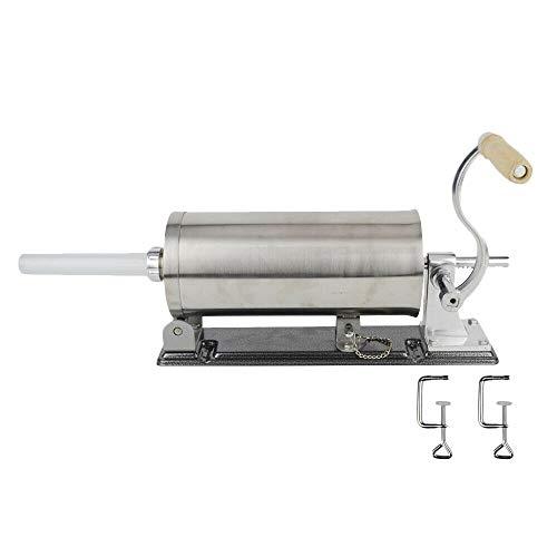 4,8L Edelstahl Handbuch Wurstfüller, 4kg Horizontale Küche Wurstfüllmaschine, Wurstspritze Wurstpresse mit 4 Füllrohre + Tischklemme