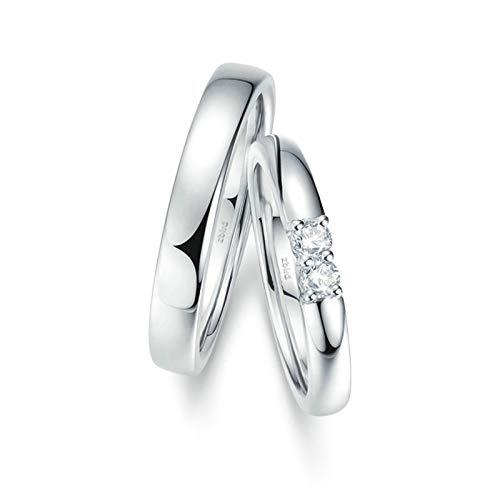 Bishilin 2 Piezas de Anillos de Pareja 18K Oro Blanco Mujer Talla 23,5 & Hombre Talla 23,5 Arco Pulido Blanco Redonda Diamante Anillo de Compromiso de Aniversario Clásico Oro Blanco