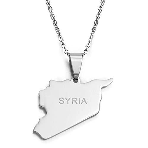Collares de mapa sirios de acero inoxidable, collares con colgante encantador, joyería de Oriente Medio, 45 cm más 5 cm