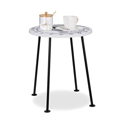 Relaxdays Petite table d'appoint ronde Coffee Shop grain de café tasse MDF métal HxlxP: 46,5 x 40 x 40 cm, noir/blanc