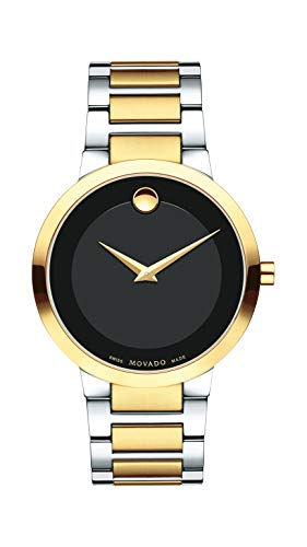 Movado Men's Modern Classic Two-Tone Watch with a Concave Dot Museum Dial, Black/Gold (Model 607120) -  0607120