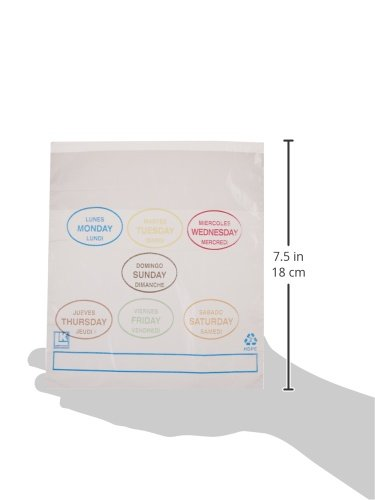 "Elkay Plastics PCAD6507 Portion Control Saddle Pack Bags Printed All Days, 6 1/2"" x 7"" + 1 3/4"" LP + 1 3/4"" FB, Clear (Pack of 2000)"