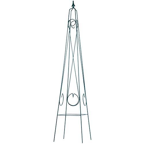 KADAX Rankhilfe, Rankobelisk, freistehender Obelisk aus Stahl, Rankturm für Garten, Rosen, Kletterpflanzen, Pyramide, wetterfeste Ranksäule, Rankgestell, Deko, grün (30 x 150 cm)