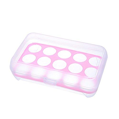 OUNONA Transparente Soporte para huevos Contenedor a prueba de golpes Caja de almacenamiento Bandeja para 15 huevos (Rosa)
