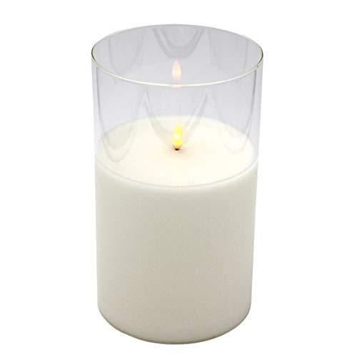 LED Kerze mit flackerndem Flammeneffekt im Glas, 15 x 25 cm, Windlicht mit Echtkerze und LED, elektrisch
