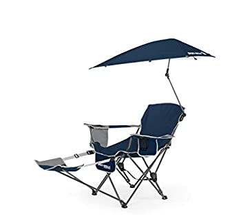 Sport-Brella 3-Position Recliner Chair with Removable Umbrella and Footrest Midnight Blue