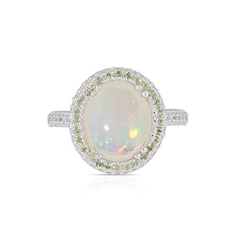 Äthiopischer Opal, Peridot und weißer Zirkon Oval Style Ring in 925 Sterling Silber für Frauen und Mädchen