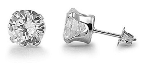 925 STERLING SILVER CUBIC ZIRCONIA CZ ROUND STUD EARRINGS. UNISEX. BRAND NEW. (3.0mm)
