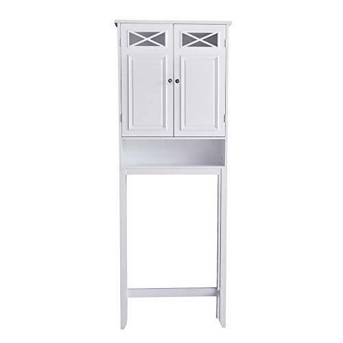 Elegant Home Fashions Dawson White Collection Bathroom Over The Toilet Storage Cabinet Space-Saver with Open Shelve Adjustable Inner Shelve and Crystal Door Knobs