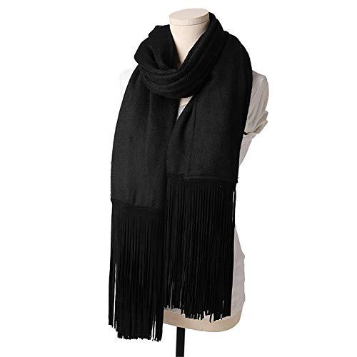 Dhmm123 Bufandas cálidas Señoras de otoño e Invierno Bufanda de Lana Larga Larga Gran Color Sólido Otoño Suave Color Salvaje Collar Tamaño 230 * 70cm (Color : Black, Size : One Size)
