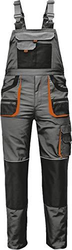 Stenso des-Emerton® - Herren Arbeits-Latzhose - Grau/Schwarz/Orange EU56