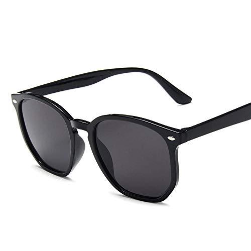DLSM Lentes poligonales Retro Gafas de Sol Señoras Retro Gafas de Sol Adecuadas para Gafas de Sol de Pesca de Golf-Gris Negro