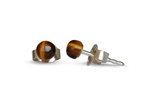 Pendientes de piedras preciosas con ojo de tigre, natural, plano y redondo, 4 mm, plata 925