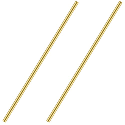 3/8 Inch Brass Round Rod, Favordrory 2PCS Brass Round Rods Lathe Bar Stock, 3/8 Inch in Diameter 14 Inch in Length