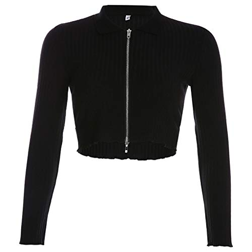 New Firespit Women's Fashion Solid Black Ful-Zipper Crop Tops Casual Long Sleeve Turn Down Collar Bl...