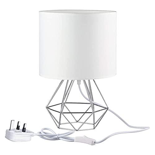 FRIDEKO HOME Modern Desk Lamp 21cm Mini Table Lamp E27 Vintage Industrial Bedroom Lamps Diamond Cage Shade Lighting for Living Room Bedroom Coffee Table White Silver
